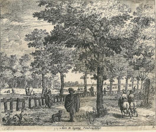 'Aan d'Ingang van den Hout' ,gravure van Jan van der Vinne uit omstreeks 1700