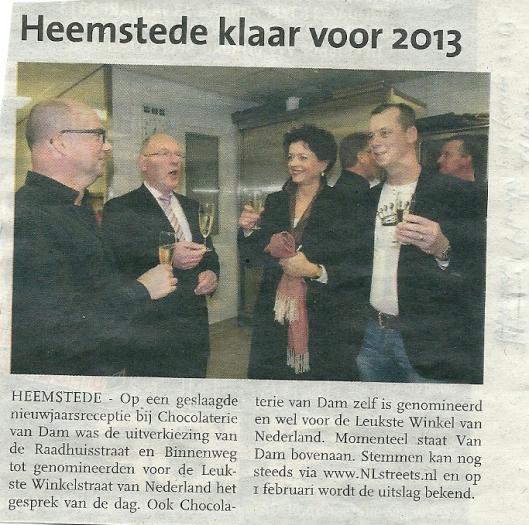 De Binnenweg Heemstede genomineerd voor leukste winkelstraat in Nederland 2013 (Haarlem, dit Weekend, 11 januari 2013)