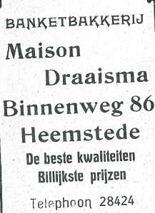 Advertentie banketbakkerij Maison Draaisma uit 1927