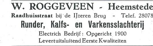 Advertentie slachterij Roggeveen uit 1927