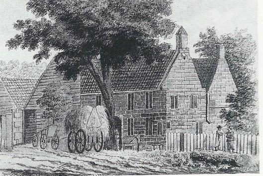Aquarel van het Dronkenhuisje uit omstreeks 1770 (Noord-Hollands Archief)