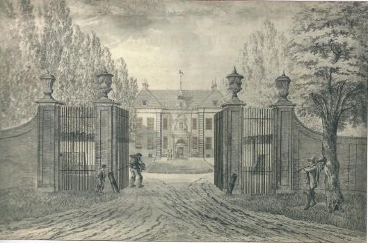 Hofstede de Hartekamp, in 1773 getekend door Hendrik Tavenier (Noord-Hollands Archief)