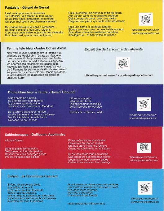 Boekenleggers uitgegeven door biblio/médiathèques Mulhouse n.a.v. 16e lente van de (Franse) dichters, maart 2014