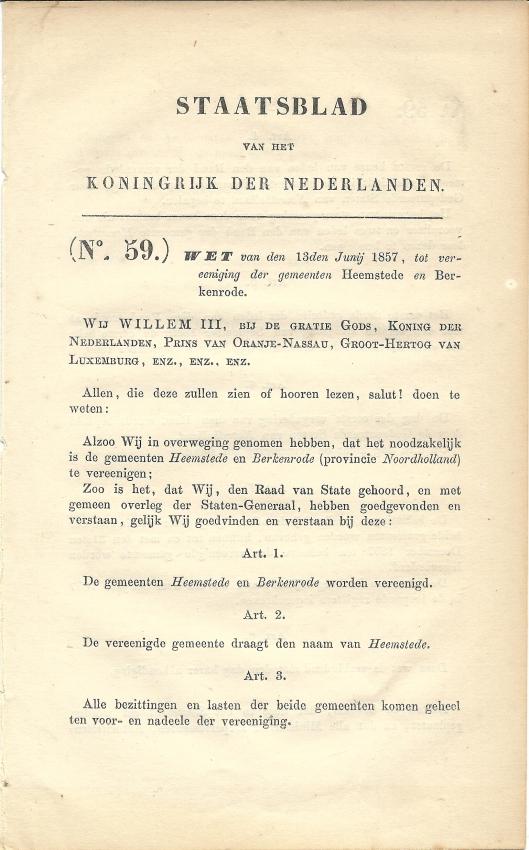 Staatsblad: wet van den 13den Junij 1857, tot vereeniging der gemeenten Heemstede en Berkenrode (1)