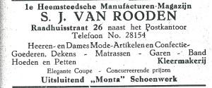 Advertentie S.J.van Roosen uit 1927