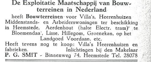 Adv. 1927 van aannemer-timmerman-exploitant P.G.Smit