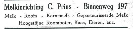 Advertentie van melkhandel C.Prins, Binnenweg 197 Heemstede (1927)