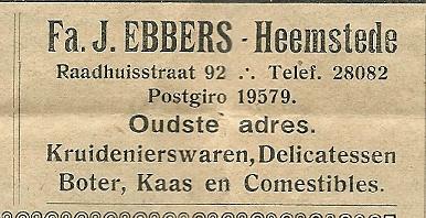 Adv. firma J.Ebbers uit: Ons Blad, 1934
