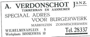 Adv. werkplaats van timmerman en aannemer A.Verdonschot, Jz., Binnenweg 10