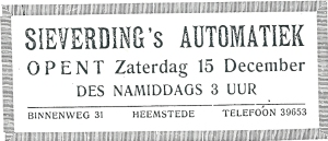 Advertentie Sieverding's automatiek uit 1951