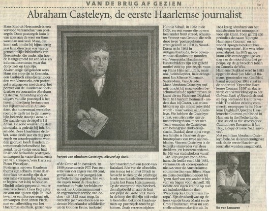 Artikel over Abraham Casteleyn en Haarlemmers/Heemstedenaren op postzgels door Ko van Leeuwen, uit het Haarlems Dagblad van 19 juni 2002.