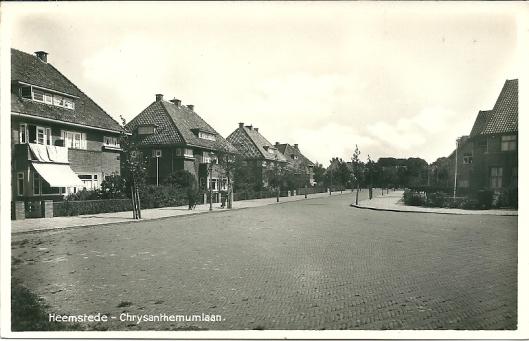 De Chrysanthenumlaan, aangelegd na 1926, in de Bloemenwijk niet ver van het station Heemstede-Aerdenhout