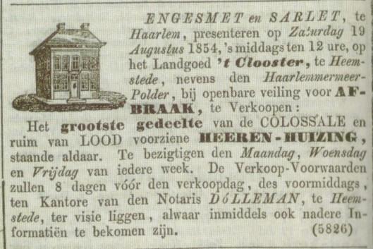 Advertentie afbraak herenhuis 't Klooster uit de Nieuwe Rotterdamsche Courant van 27 juli 1854.