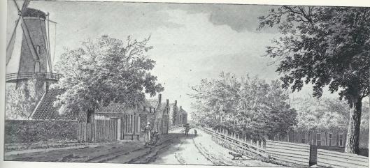 'Aan de Glip tussen Heemstede en Bennebroek' . Links molen de nachtegaal en rechts hofstede Overmeer. Tekening van H.Tavenier uit 1782 (Noord-Hollands Archief)