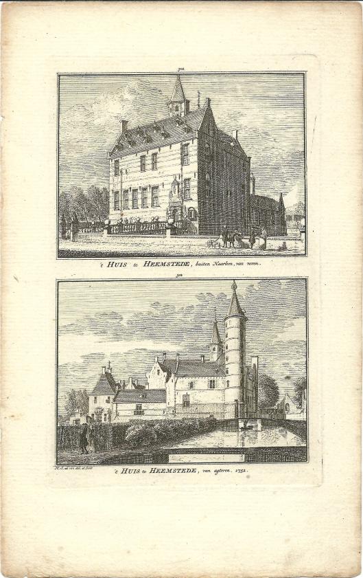 Etsen van 't Huis te Heemstede, van voren en achteren, door Hendrik Spilman, 1752