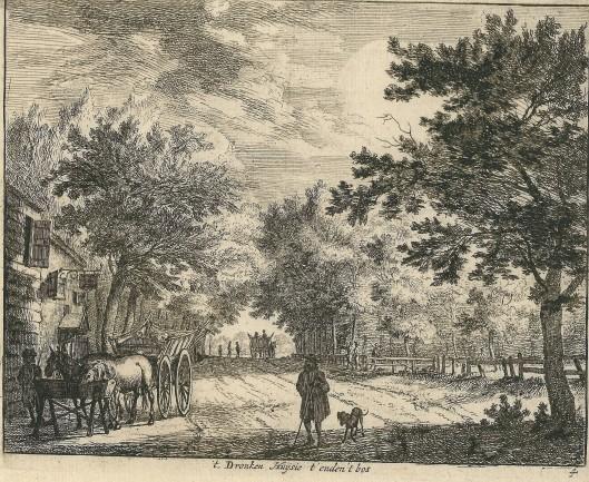 't Dronen Huijsie t'enden 't bos' (aan de Herenweg/Wagenweg Heemstede). Ets van Jan van de Vinne, circa 1700