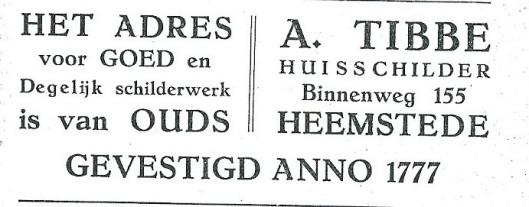Advertentie van schildersbedrijf Tibbe uit 1927; oorspronkelijk begonnen aan de Herenweg in de heerlijkheid Berkenrode