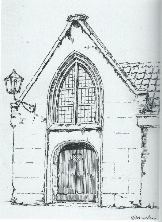 De Heemsteese kapel in de Janskerk Haarlem. Tekening van H.J.Wesseling, 1925
