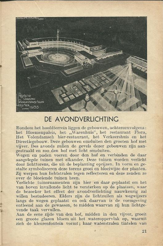 Artikel over de avondverlichting van Flora 1935
