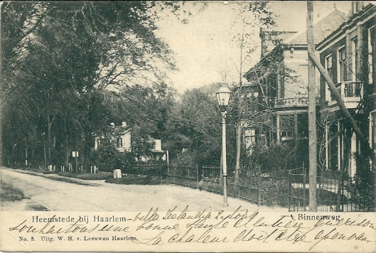 Nog een oude prentbriefkaart van de Binnenweg met gasverlichting en huizen [waaronder de huidige Heemsteedse apotheek] en 't Nieuw Klooster in het groen op de achtergrond.