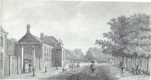 18e eeuwse tekening van hofstede 'Meer en Berg' door H.Schouten (N.H.Archief, haarlem)