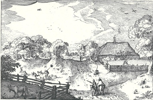'Onder weegen Heemstede'' gravure van Claes Jansz. Visscher, circa 1611 in serie 'Plaisante plaetsen'
