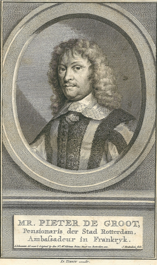 Mr. Pieter de Groot, zoon van Hugo de Groot, pensionaris van Rotterdam, eigenaar van de hofstede Boekenrode op de grens van Heemstede en Aerdenhout. Gravure door J.Houbraken