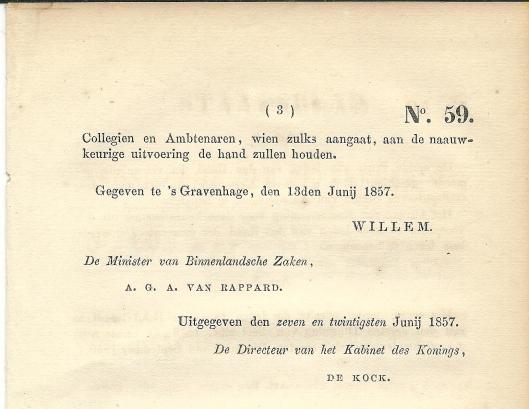 Slot staatsblad vereeniging Heemstede en Berkenrode in 1857