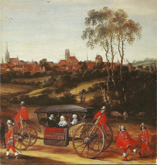 Deel van een schilderij van Gerard ter Borch, voorstellende Adriaen Pauw met zijn echtgenote Anna van Ruytenburgh en een kleindochter rijdt in een staatsiekoets bespannen met zes paarden Munster binnen in 1646 bij de vooronderhandelingen. Landesmuseum für Kunst und Kulturgeschichte te Münster