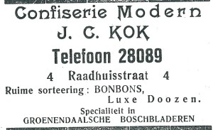 Confiserie J.C.Kok, met bonbons specialiteit: 'Groenendaalsche boscbbladeren