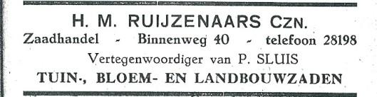 Advertentie H.M.Rijzenaars uit 1927