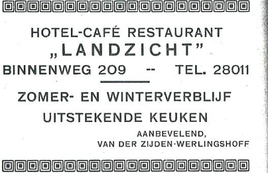 Adv. van hotel-restaurant-café Landzicht, Binnenweg 109, Heemstede (1927)