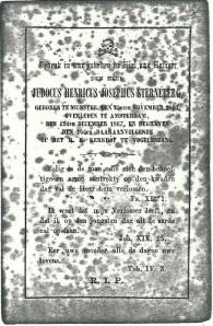 Bidprentje H.H.J.Sterneberg (1800-1867), begraven te Vogelenzang