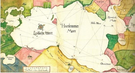 Kaart van het Haarlemmermeer op basis van de plannen van Jacob Veeris en Jan Adriaanszoon Leeghwater om het meer met molens droog te leggen. Midden boven: Heemstede