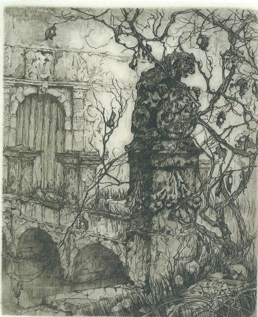 De Vredesbrug van het Oude Slot. Ets van Anton Pieck, 1918
