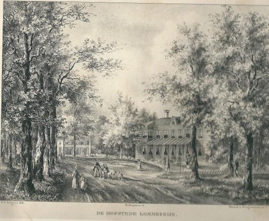 Hofstede Lommerrijk, P.J.Lutgers, circa 1842