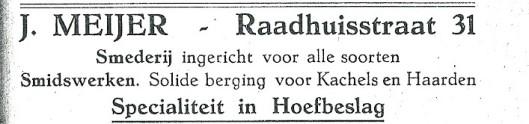 Smederij J.Meijer was gespecialiseerd in hoefbeslag