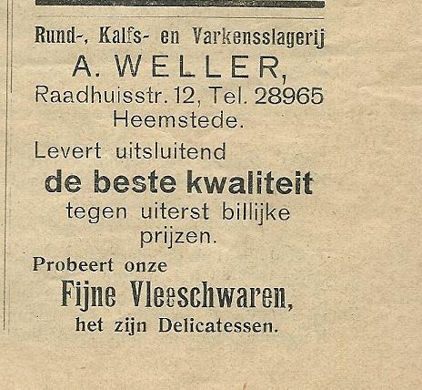 Advertentie slagerij A.Weller, uit: Ons Blad, 1934