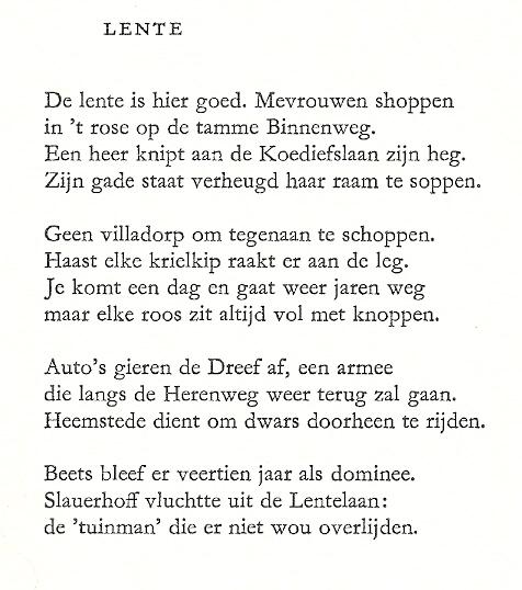 Uit: Heemstede, uit 4 gedichten, door F.L.Bastet. In serie: Noord-Holland in proza, poëzie en prenten, uitgegeven door Culturele Raad Noord-Holland, 1991.