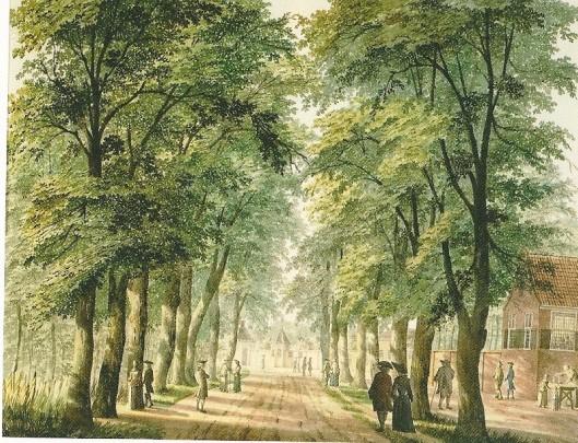 Tekening van H.Keun uit circa 1757 van de Oude Houtweg (nu Koningin Wilhelminalaan). Op de achtergrond Spruitenbosch en rechts de hofstede Houtlust