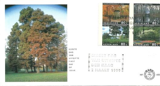 First-day-cover 2 maart 1999. Linksboven postzegel Haarlemmerhout met Coster-monument