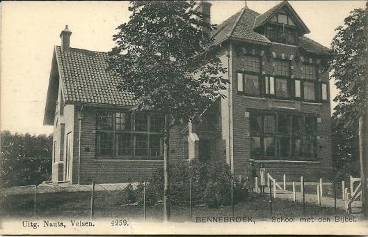 Oude ansichtkaart van de protestantse Willinkschool aan de Rijksstraatweg in Bennebroek