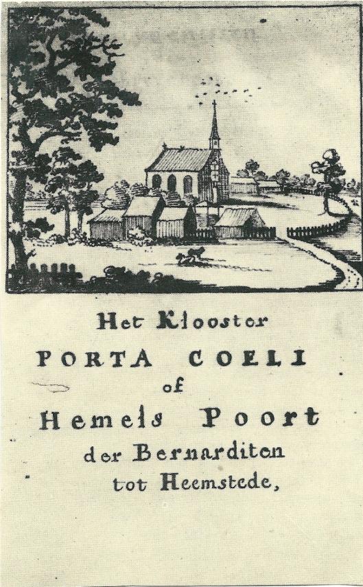 Titelblad van 18e eeuws handschrift; 'Korte beschryving van 't Klooster Hemels-Poort der Bernardinen tot Heemstede met deszelfs egtte bewijs-stukken en bescheyden daar toe-behoorende door K.van Alkemade, P.van der Schelling.'