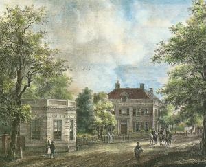 Ingekleurde steendruk van hofstede 'Bosch en Vaart' door P.J.Lutgers (1837-1844)