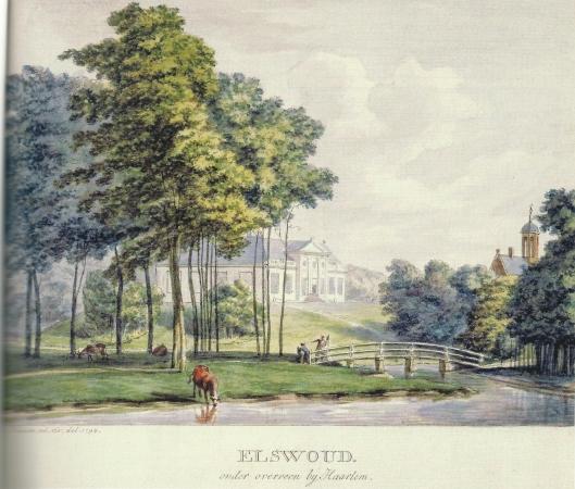 Ingekleurde prent van Elswout te Overveen in circa 1795 vervaardigd door H.Numan