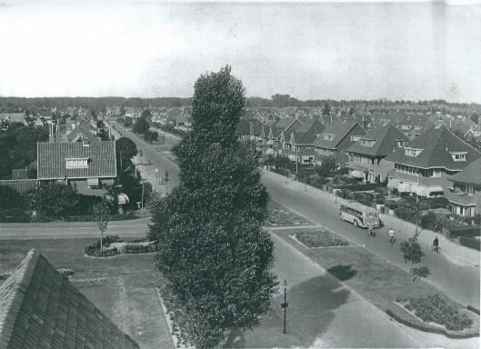 De Heemsteedse Dreef in 1939, gezien vanaf het torentje van de Dreefschool in de richting Haarlem