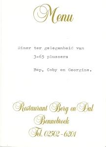 Voorzijde menukaart van Restaurant Berg en Dal, Bennebroek voor Bep, Coby en Georgine Wiegman