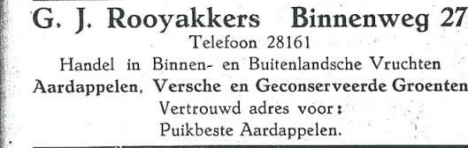 Advertentie G.J.Rooyakkers uit 1927