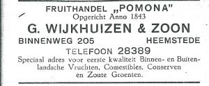 Advertenentie fruithandel 'Pomona' van G.Wijkhuizen & Zoon, Binnenweg 205 Heemstede (1927)