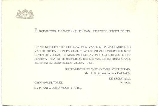 Uitnodingingskaart voor operavoorstelling 'Don Pasquale' in het Minervatheater ter ere van de FLORA 1953